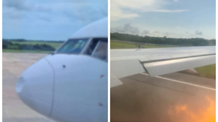 Пассажир заснял на видео, как летевший в Москву самолет столкнулся с орлами